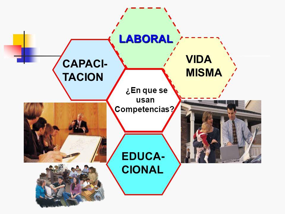 LABORAL VIDA CAPACI- MISMA TACION EDUCA- CIONAL ¿En que se usan