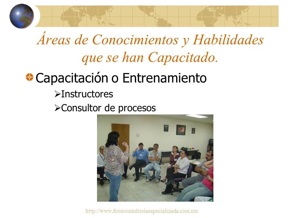 Áreas de Conocimientos y Habilidades que se han Capacitado.