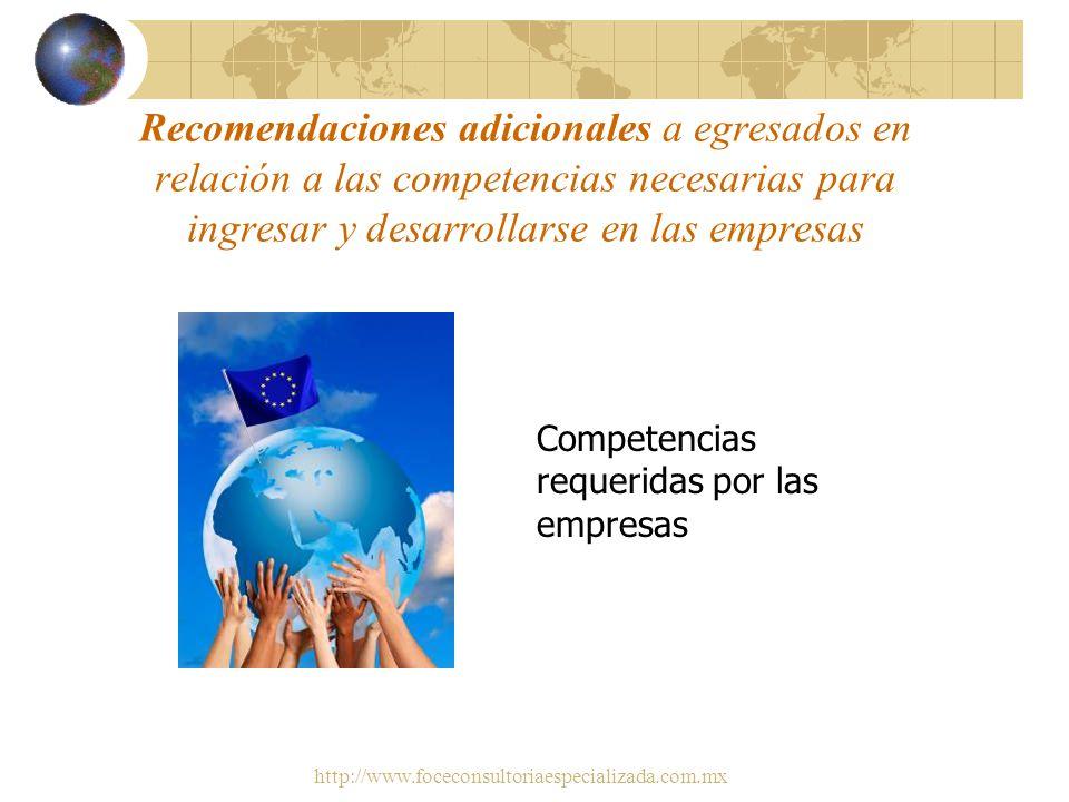 Recomendaciones adicionales a egresados en relación a las competencias necesarias para ingresar y desarrollarse en las empresas