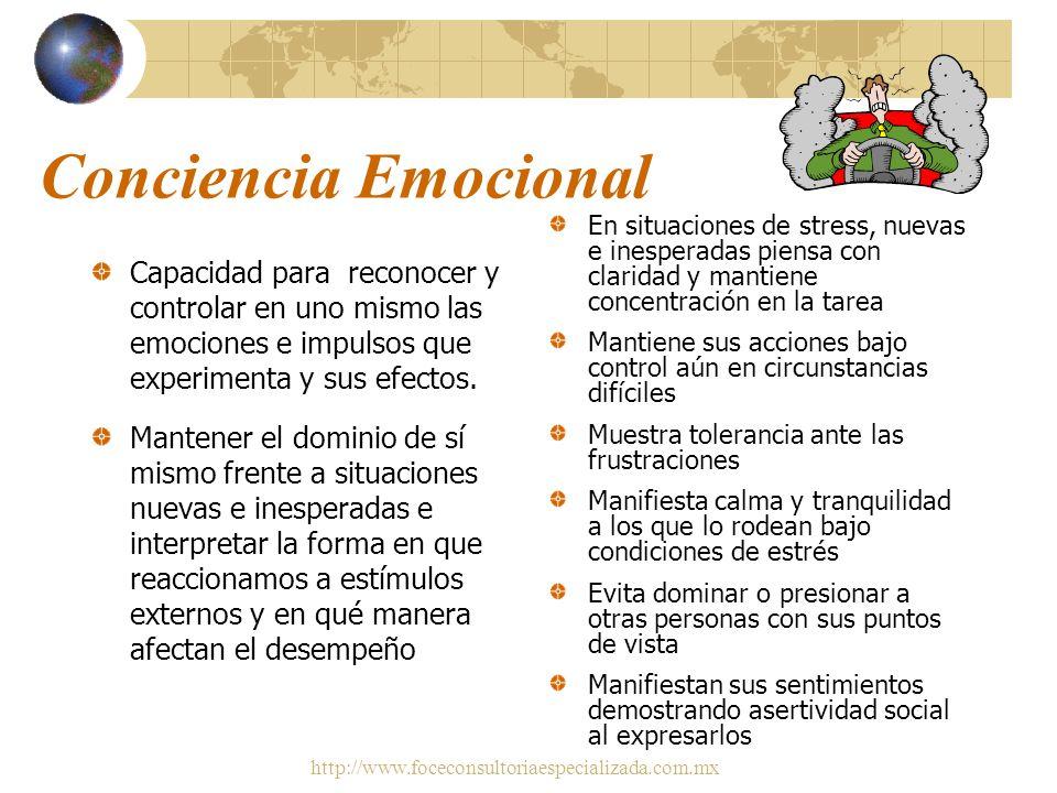 Conciencia Emocional En situaciones de stress, nuevas e inesperadas piensa con claridad y mantiene concentración en la tarea.