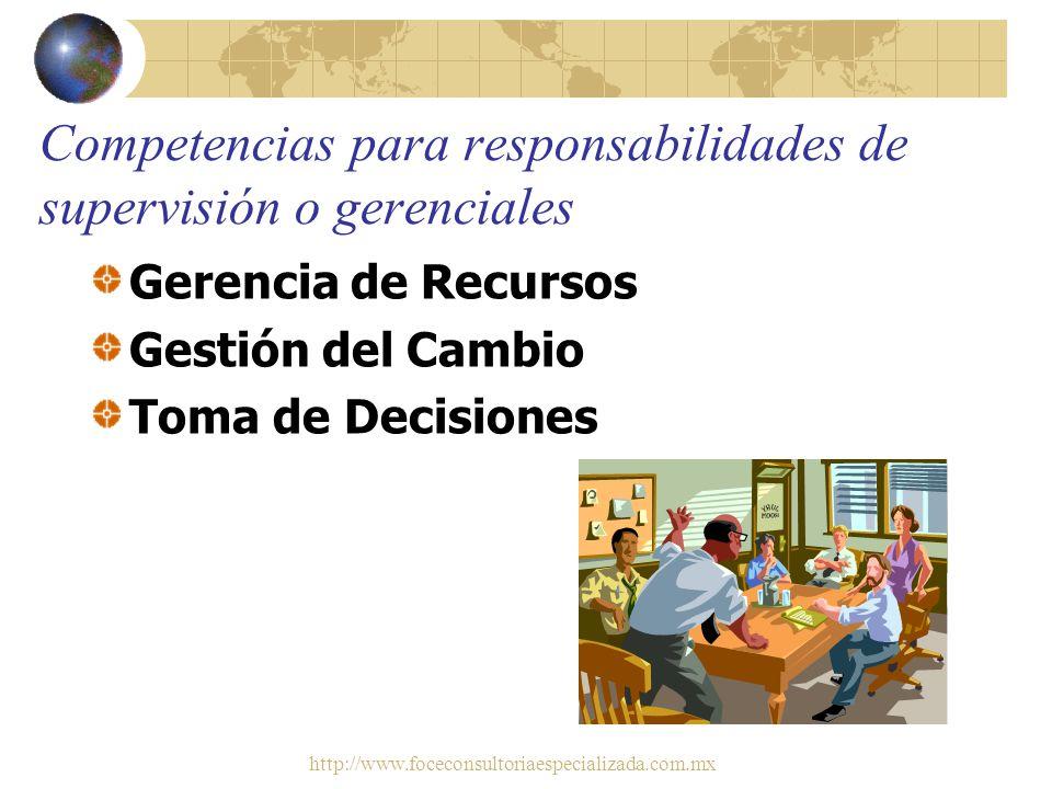 Competencias para responsabilidades de supervisión o gerenciales