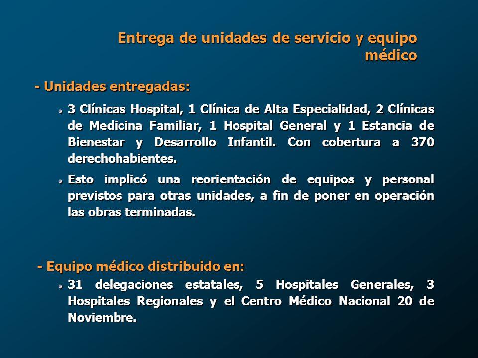 Entrega de unidades de servicio y equipo médico