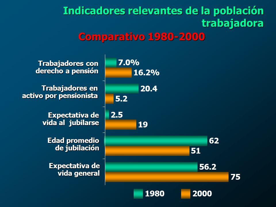 Indicadores relevantes de la población trabajadora