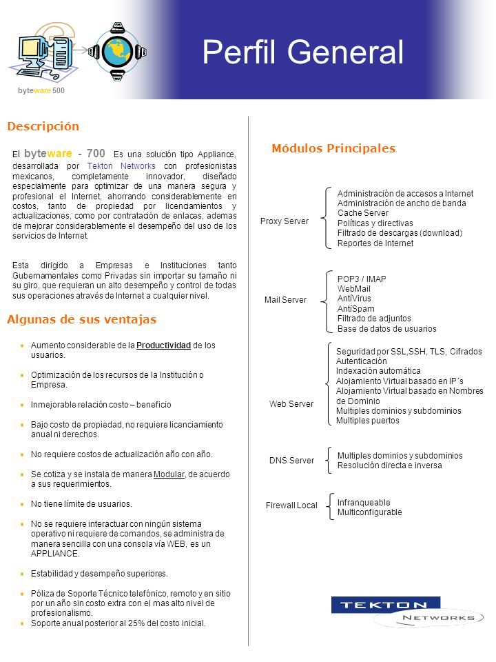 Perfil General Descripción Módulos Principales Algunas de sus ventajas