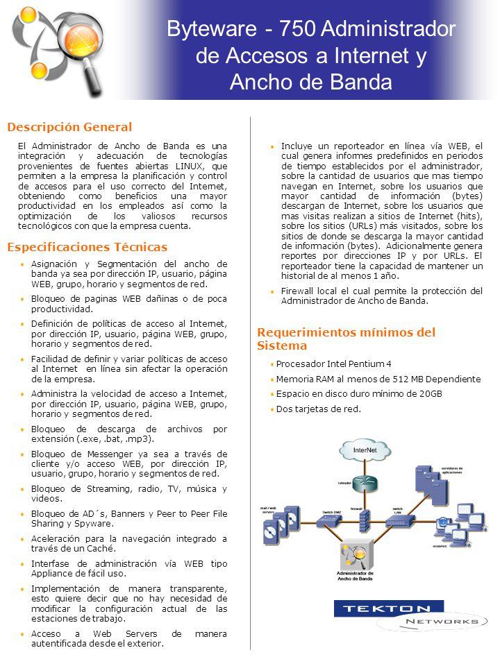 Byteware - 750 Administrador de Accesos a Internet y Ancho de Banda