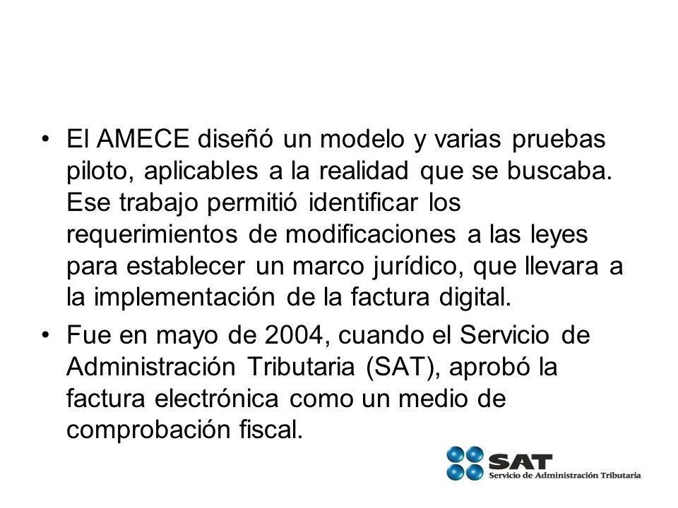 El AMECE diseñó un modelo y varias pruebas piloto, aplicables a la realidad que se buscaba. Ese trabajo permitió identificar los requerimientos de modificaciones a las leyes para establecer un marco jurídico, que llevara a la implementación de la factura digital.