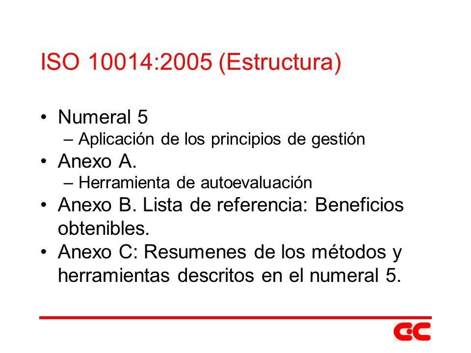 ISO 10014:2005 (Estructura) Numeral 5 Anexo A.