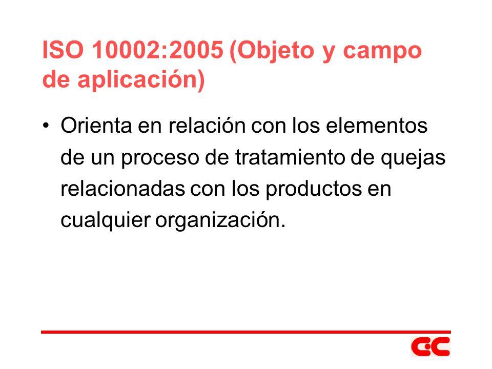ISO 10002:2005 (Objeto y campo de aplicación)