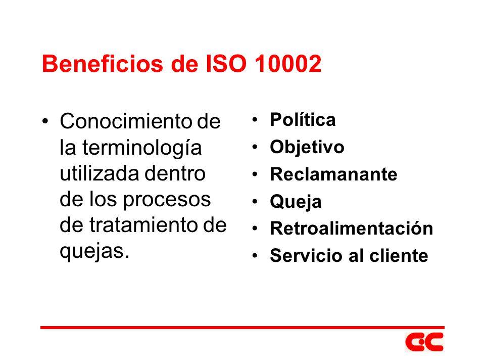 Beneficios de ISO 10002 Conocimiento de la terminología utilizada dentro de los procesos de tratamiento de quejas.