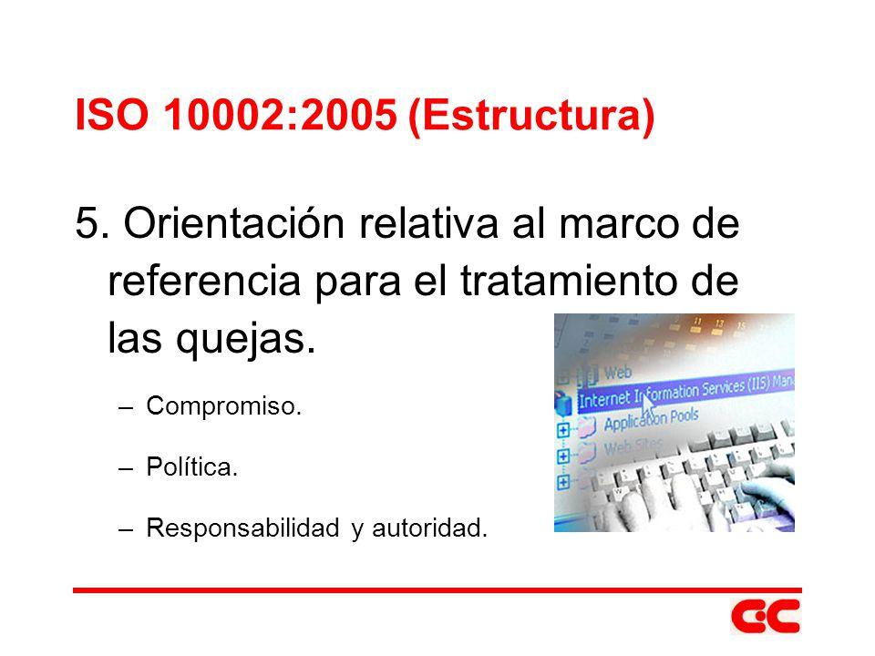 ISO 10002:2005 (Estructura) 5. Orientación relativa al marco de referencia para el tratamiento de las quejas.