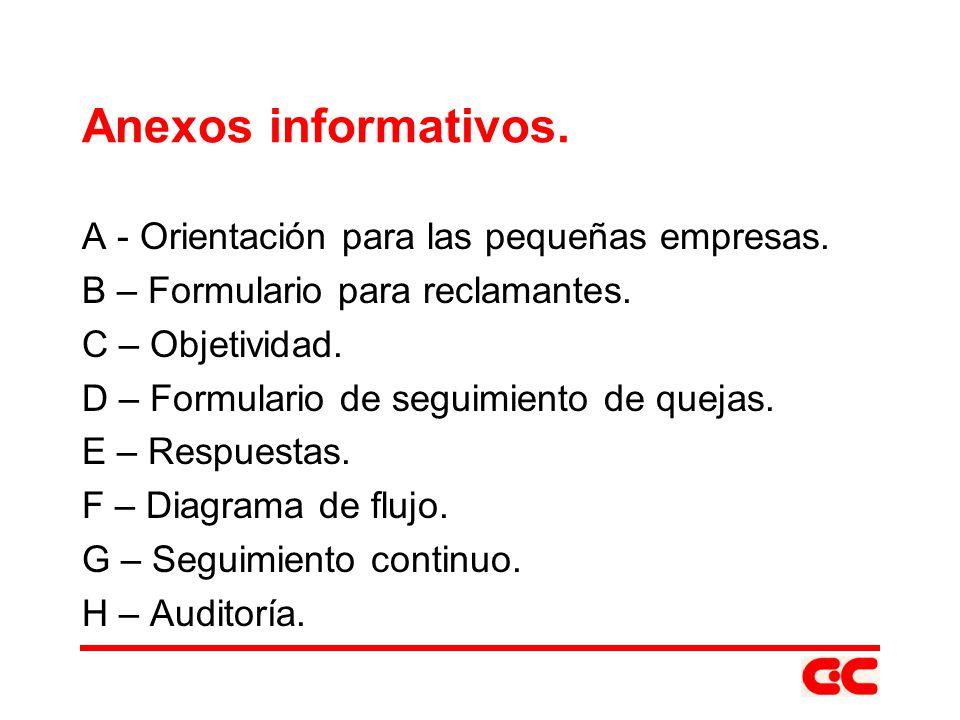 Anexos informativos. A - Orientación para las pequeñas empresas.