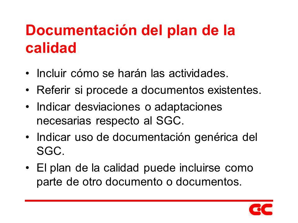 Documentación del plan de la calidad