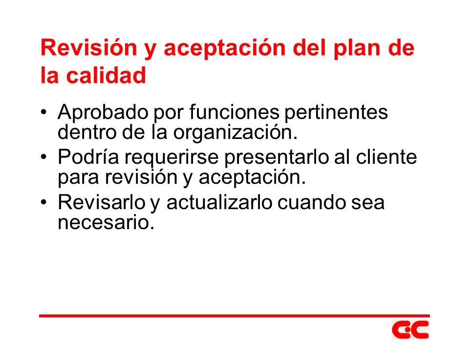 Revisión y aceptación del plan de la calidad
