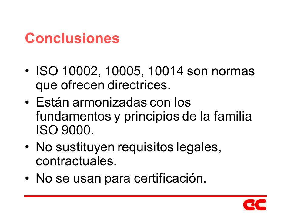 Conclusiones ISO 10002, 10005, 10014 son normas que ofrecen directrices. Están armonizadas con los fundamentos y principios de la familia ISO 9000.