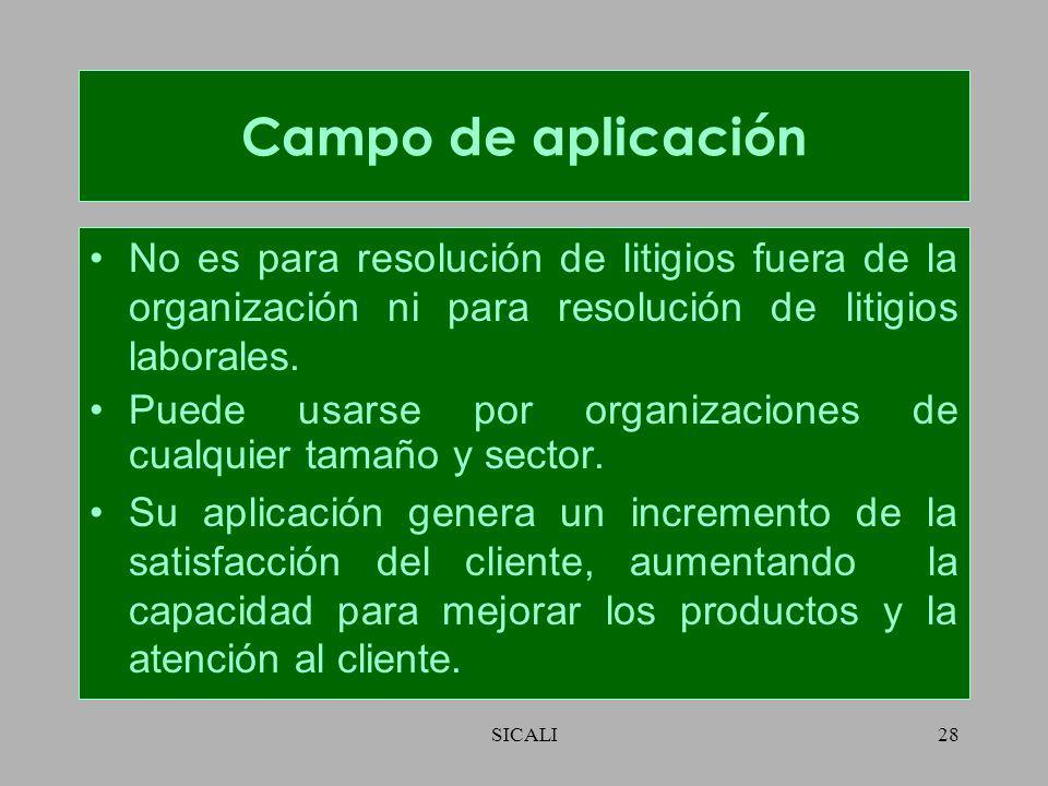 Campo de aplicación No es para resolución de litigios fuera de la organización ni para resolución de litigios laborales.