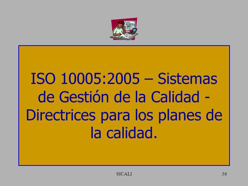ISO 10005:2005 – Sistemas de Gestión de la Calidad - Directrices para los planes de la calidad.