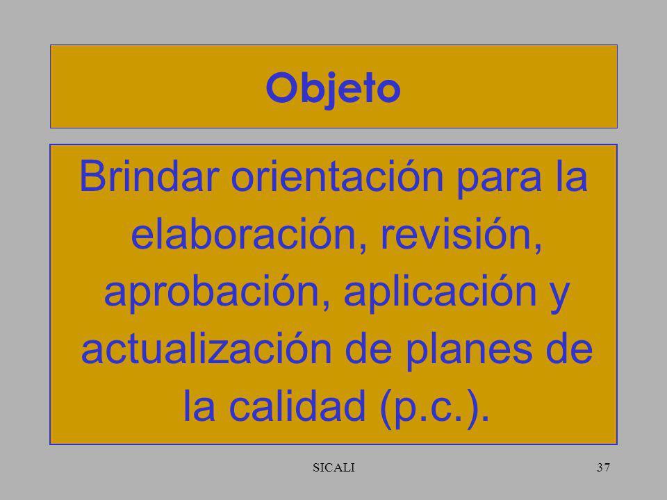 Objeto Brindar orientación para la elaboración, revisión, aprobación, aplicación y actualización de planes de la calidad (p.c.).