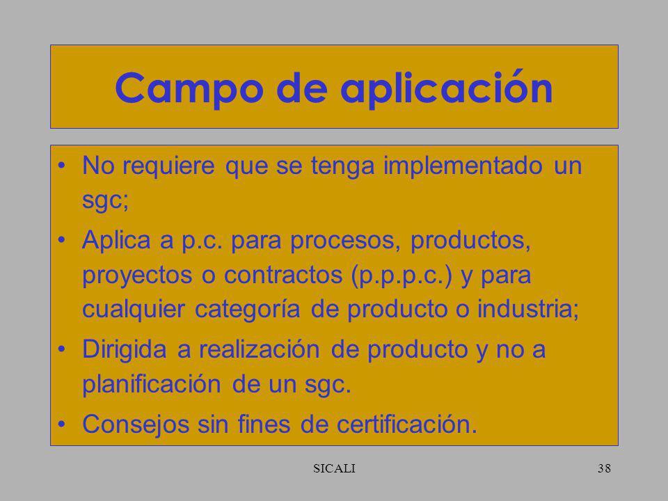 Campo de aplicación No requiere que se tenga implementado un sgc;