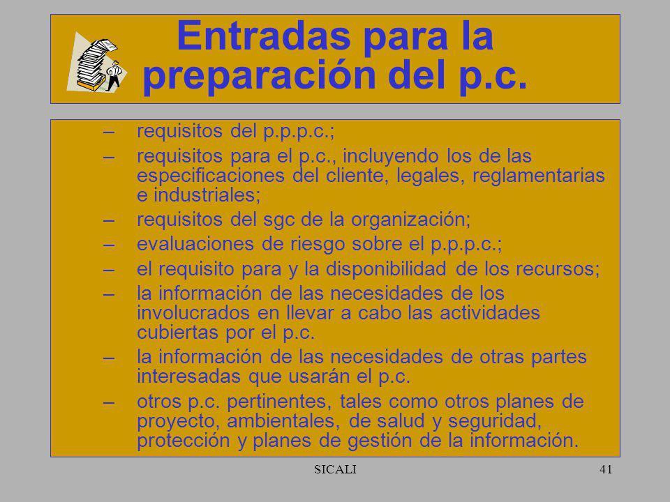 Entradas para la preparación del p.c.
