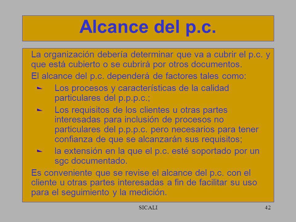 Alcance del p.c. La organización debería determinar que va a cubrir el p.c. y que está cubierto o se cubrirá por otros documentos.
