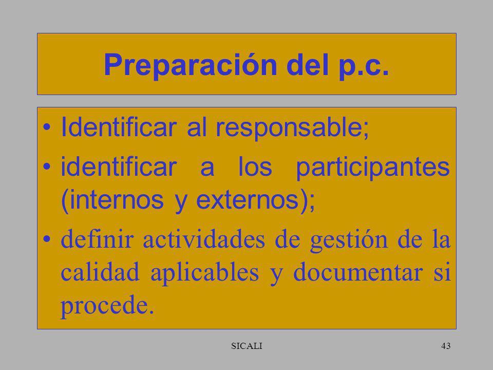 Preparación del p.c. Identificar al responsable;