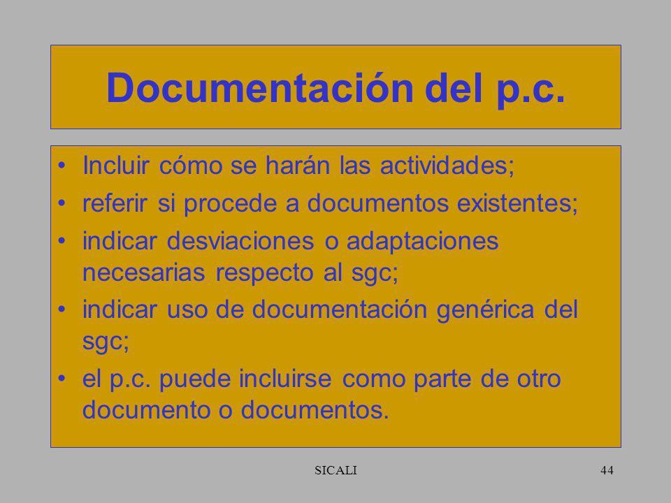 Documentación del p.c. Incluir cómo se harán las actividades;