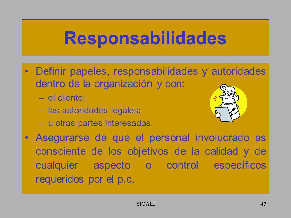 Responsabilidades Definir papeles, responsabilidades y autoridades dentro de la organización y con: