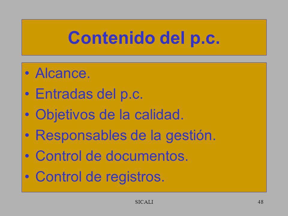 Contenido del p.c. Alcance. Entradas del p.c. Objetivos de la calidad.