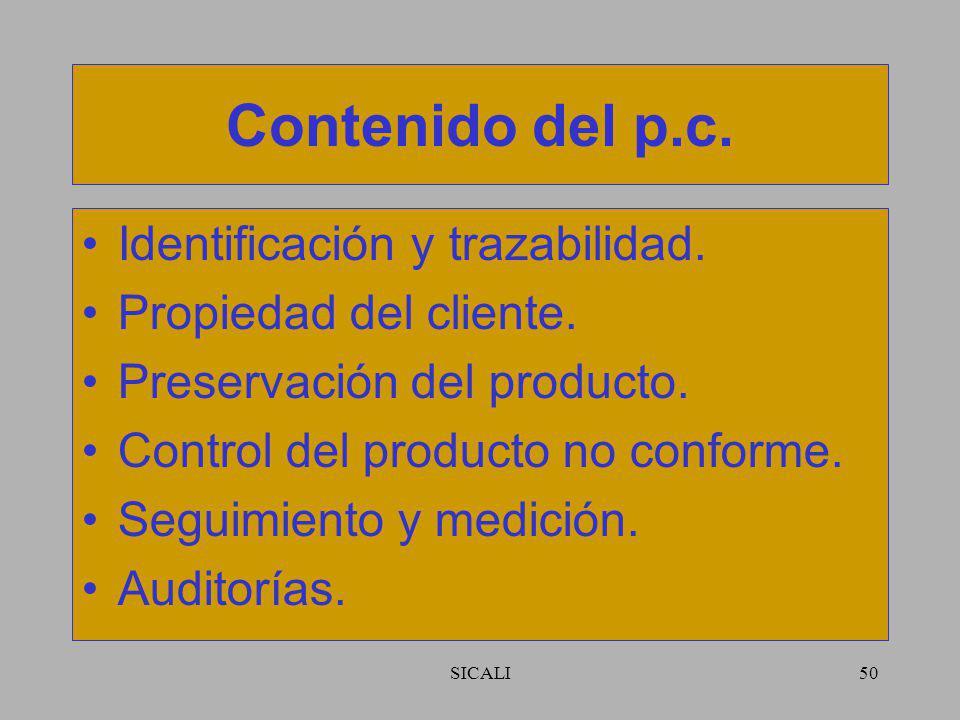 Contenido del p.c. Identificación y trazabilidad.