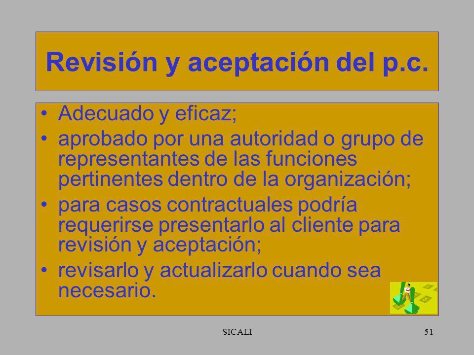 Revisión y aceptación del p.c.