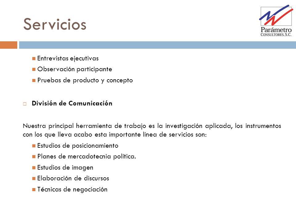 Servicios Entrevistas ejecutivas Observación participante