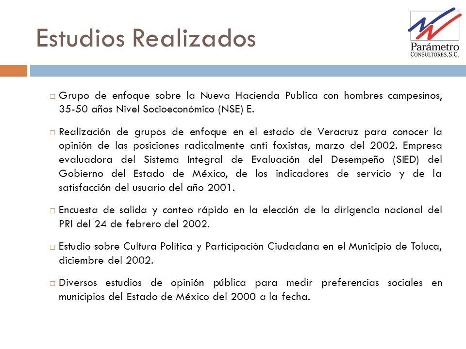 Estudios Realizados Grupo de enfoque sobre la Nueva Hacienda Publica con hombres campesinos, 35-50 años Nivel Socioeconómico (NSE) E.