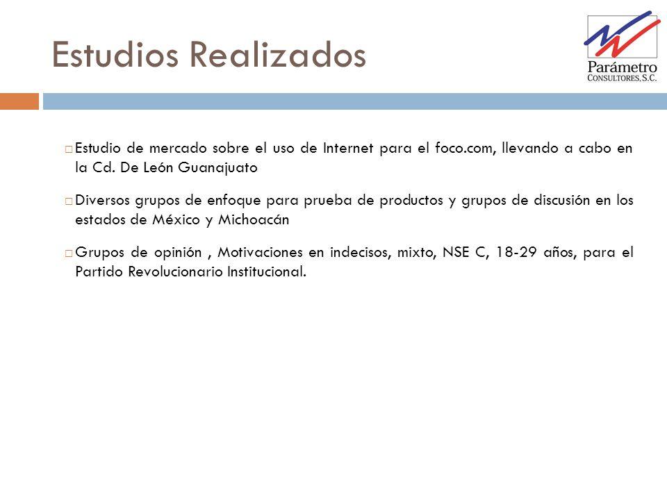 Estudios Realizados Estudio de mercado sobre el uso de Internet para el foco.com, llevando a cabo en la Cd. De León Guanajuato.