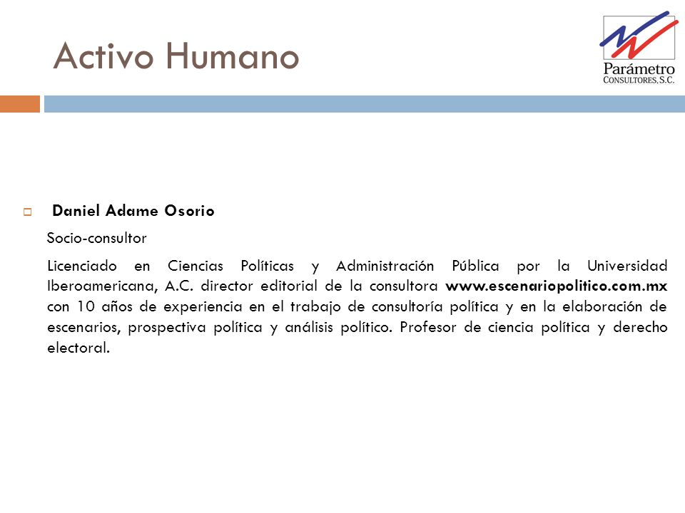 Activo Humano Daniel Adame Osorio Socio-consultor