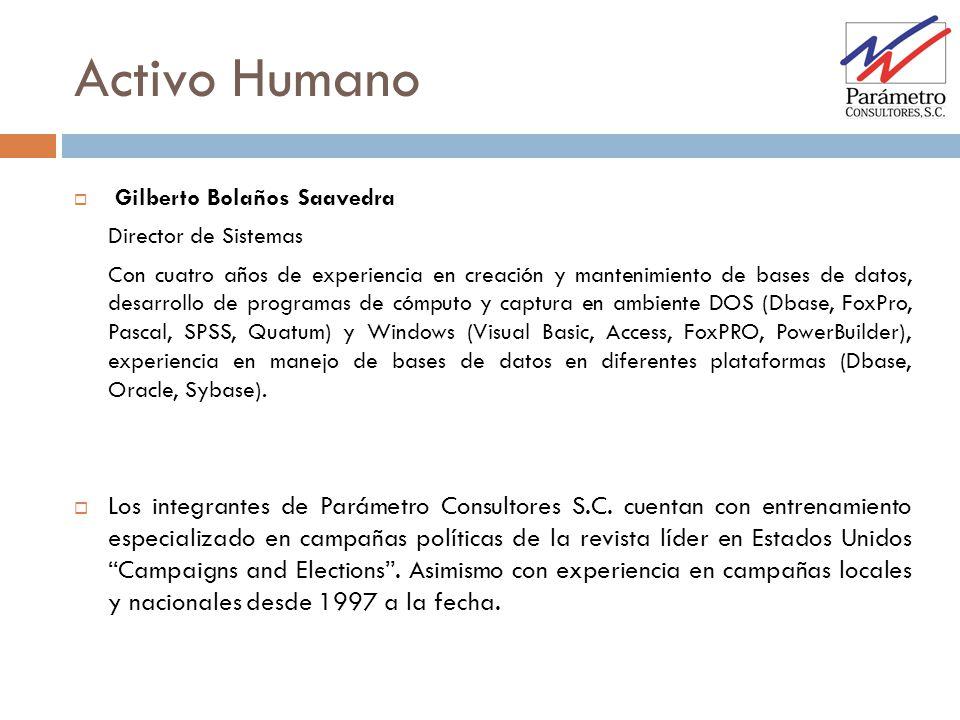 Activo Humano Gilberto Bolaños Saavedra. Director de Sistemas.