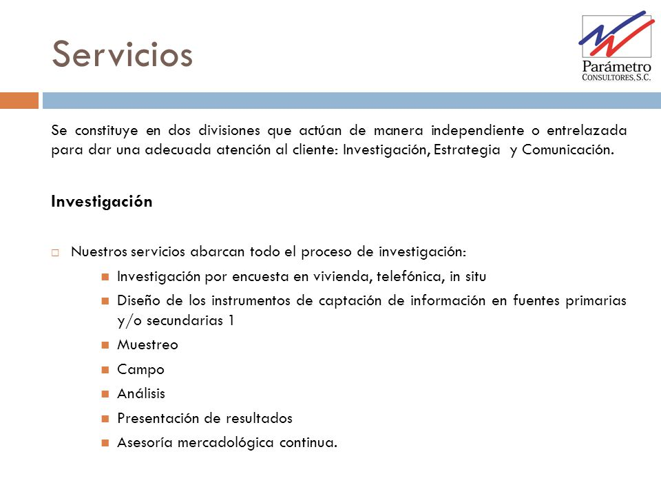 Servicios Investigación