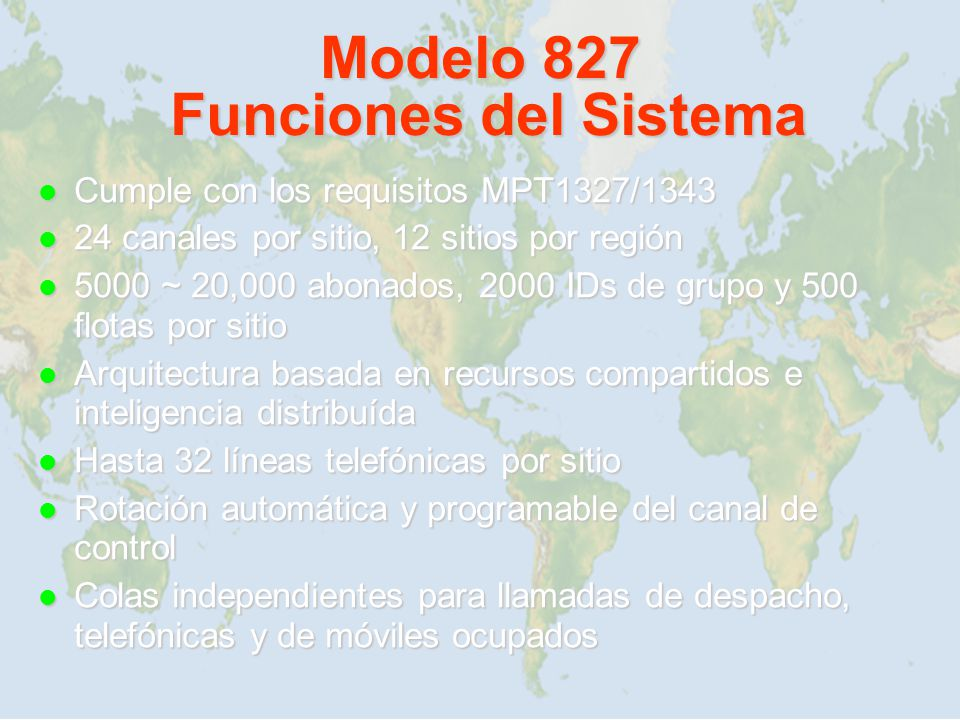 Modelo 827 Funciones del Sistema