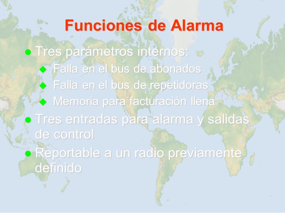 Funciones de Alarma Tres parámetros internos: