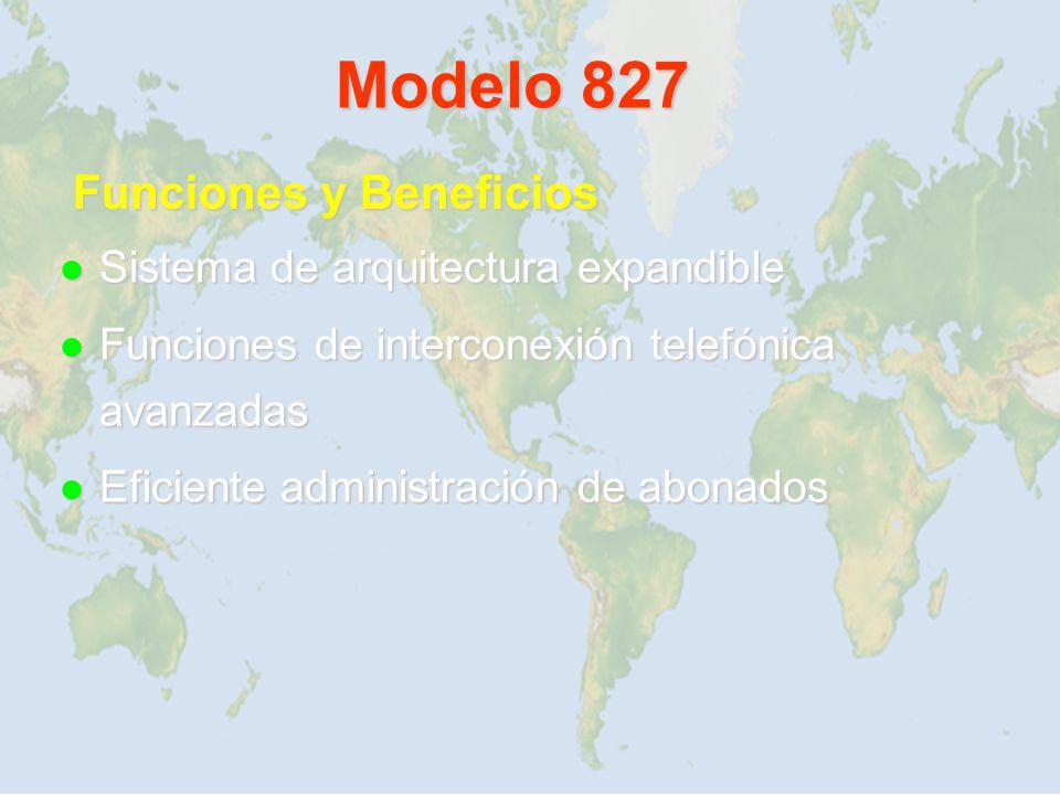 Modelo 827 Funciones y Beneficios Sistema de arquitectura expandible