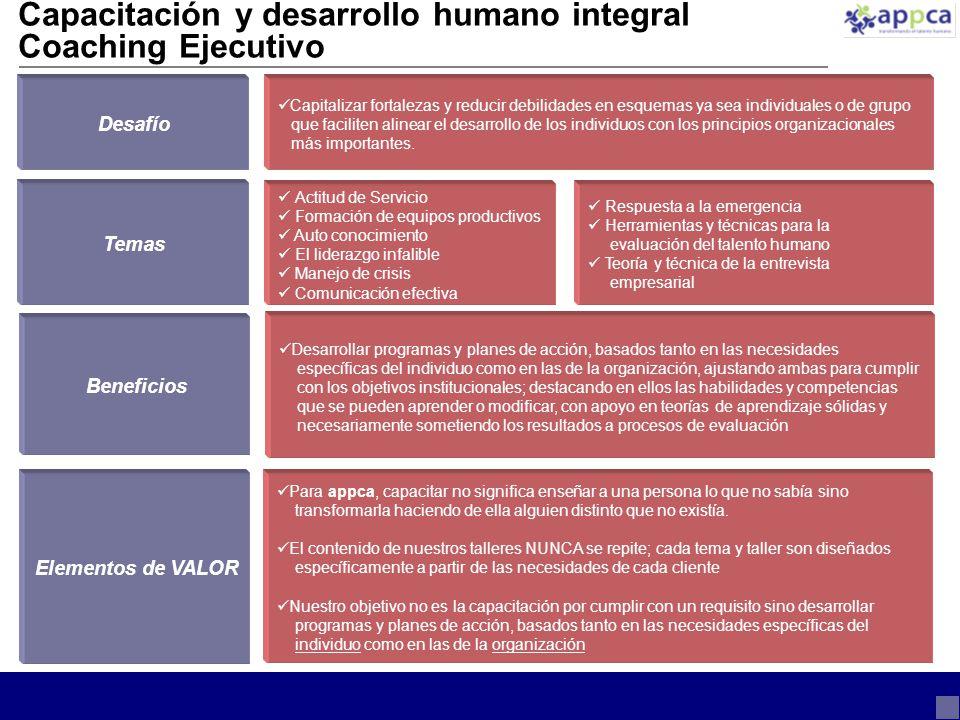 Capacitación y desarrollo humano integral Coaching Ejecutivo