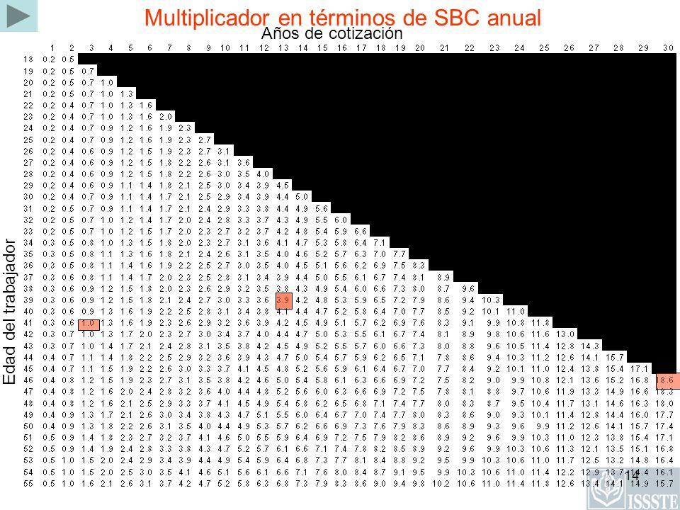 Multiplicador en términos de SBC anual