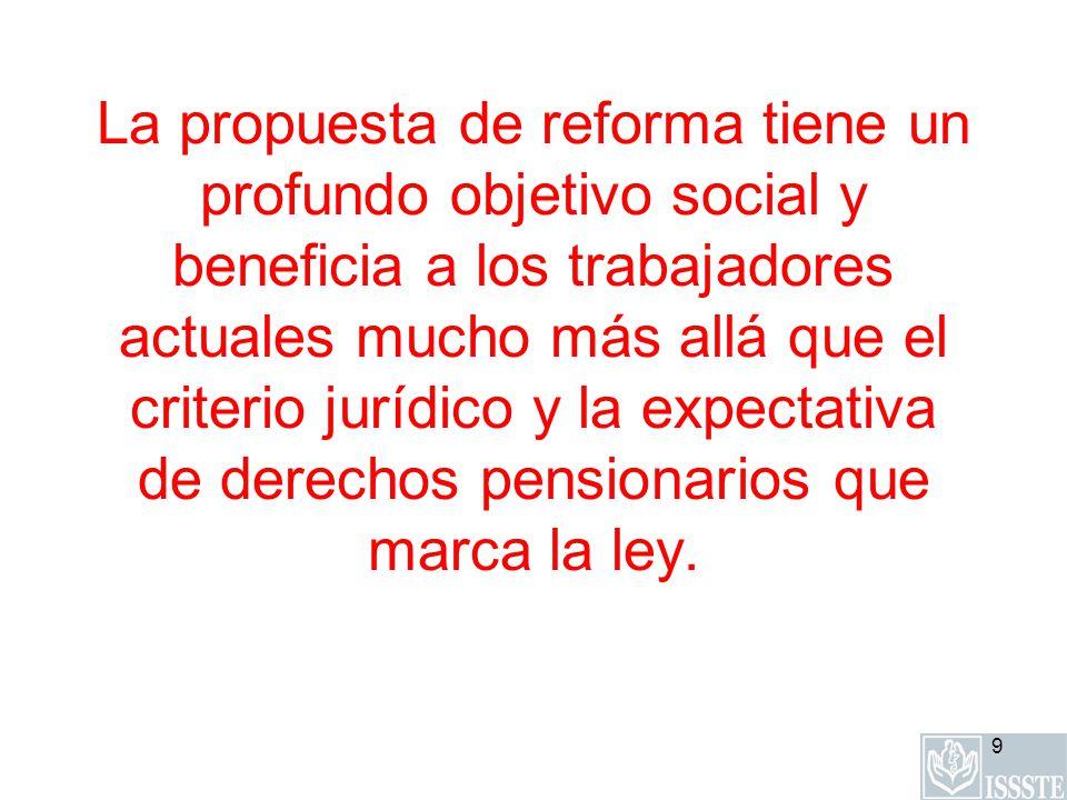 La propuesta de reforma tiene un profundo objetivo social y beneficia a los trabajadores actuales mucho más allá que el criterio jurídico y la expectativa de derechos pensionarios que marca la ley.