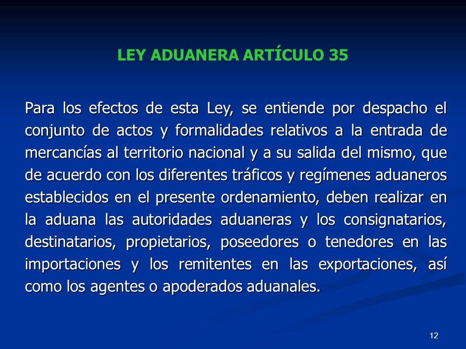 LEY ADUANERA ARTÍCULO 35