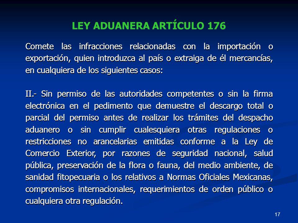 LEY ADUANERA ARTÍCULO 176