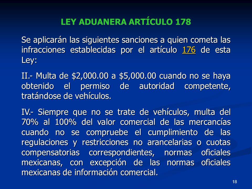 LEY ADUANERA ARTÍCULO 178 Se aplicarán las siguientes sanciones a quien cometa las infracciones establecidas por el artículo 176 de esta Ley: