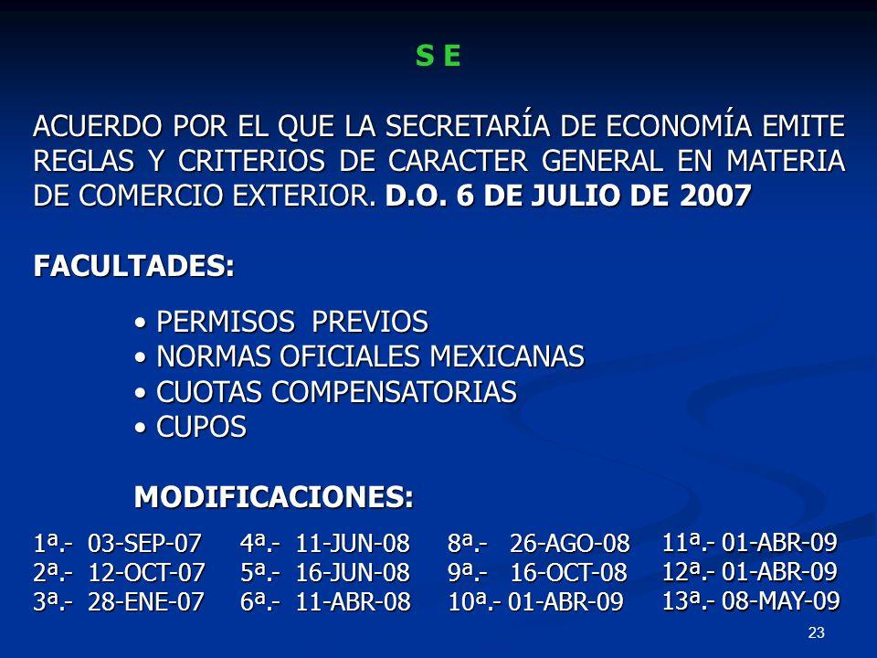 NORMAS OFICIALES MEXICANAS CUOTAS COMPENSATORIAS CUPOS MODIFICACIONES: