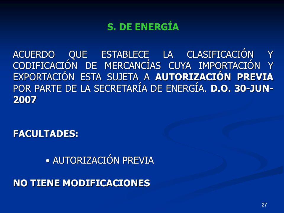 S. DE ENERGÍA