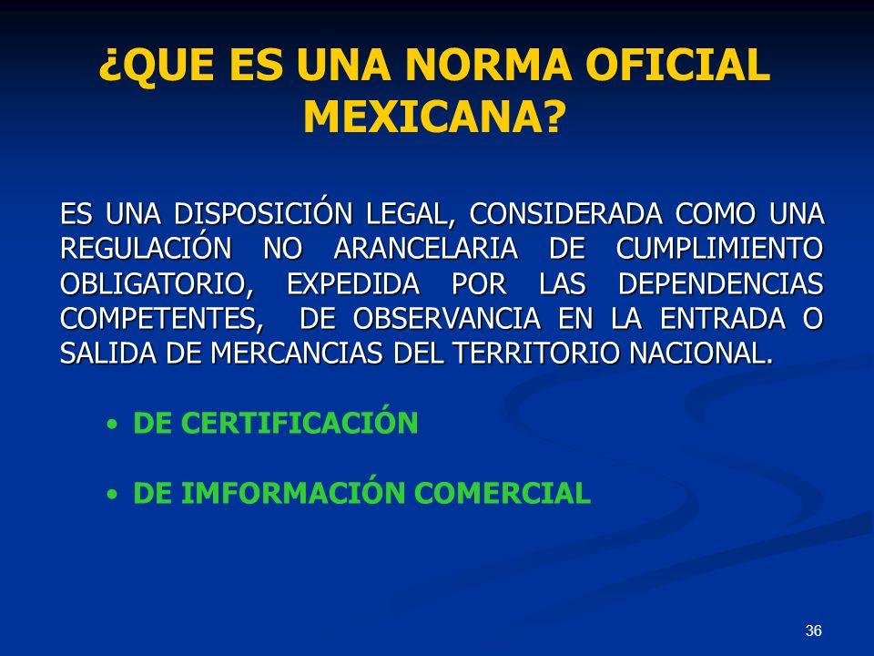 ¿QUE ES UNA NORMA OFICIAL MEXICANA