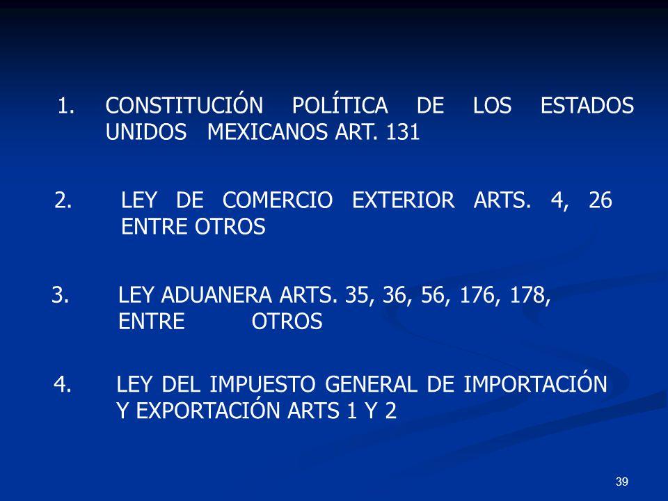 1. CONSTITUCIÓN POLÍTICA DE LOS ESTADOS UNIDOS MEXICANOS ART. 131
