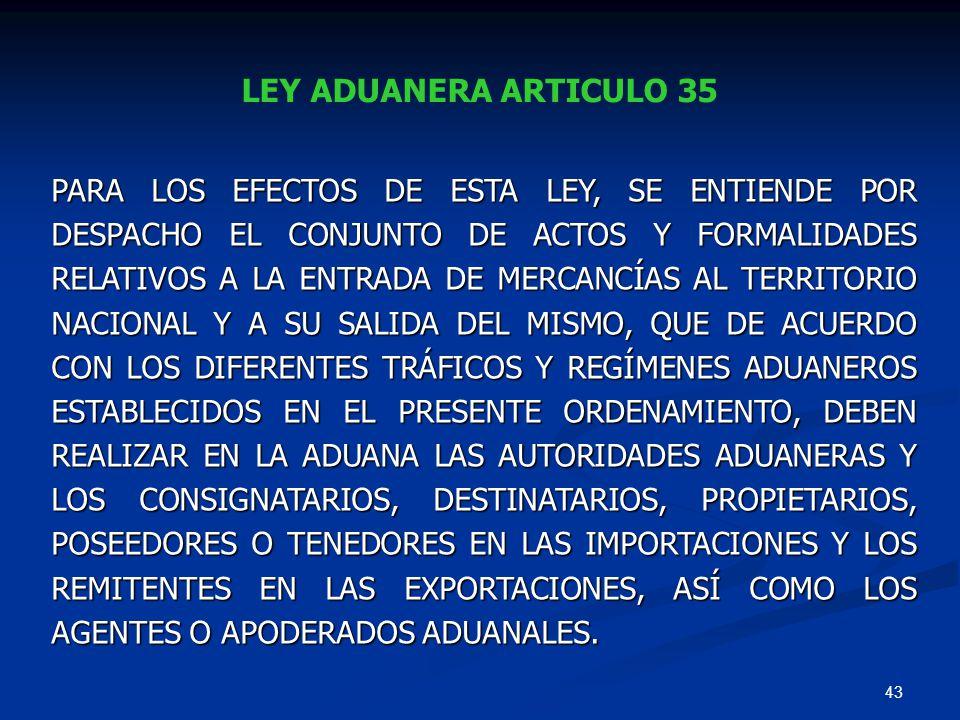 LEY ADUANERA ARTICULO 35